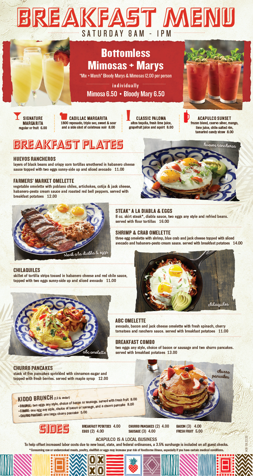 ALL-NEW Saturday Breakfast Menu featuring over 8 new items! Bottomless Mix & Match Mimosas + Bloody Marys. Served 8am – 1pm.